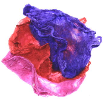 Hand dyed silk hankies red-violet